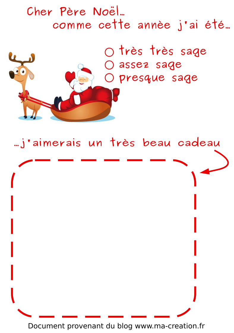Lettre au p re no l ma creation - Liste pere noel a imprimer ...