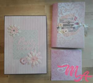 La boite décorée, l'album et l'enveloppe pour la carte